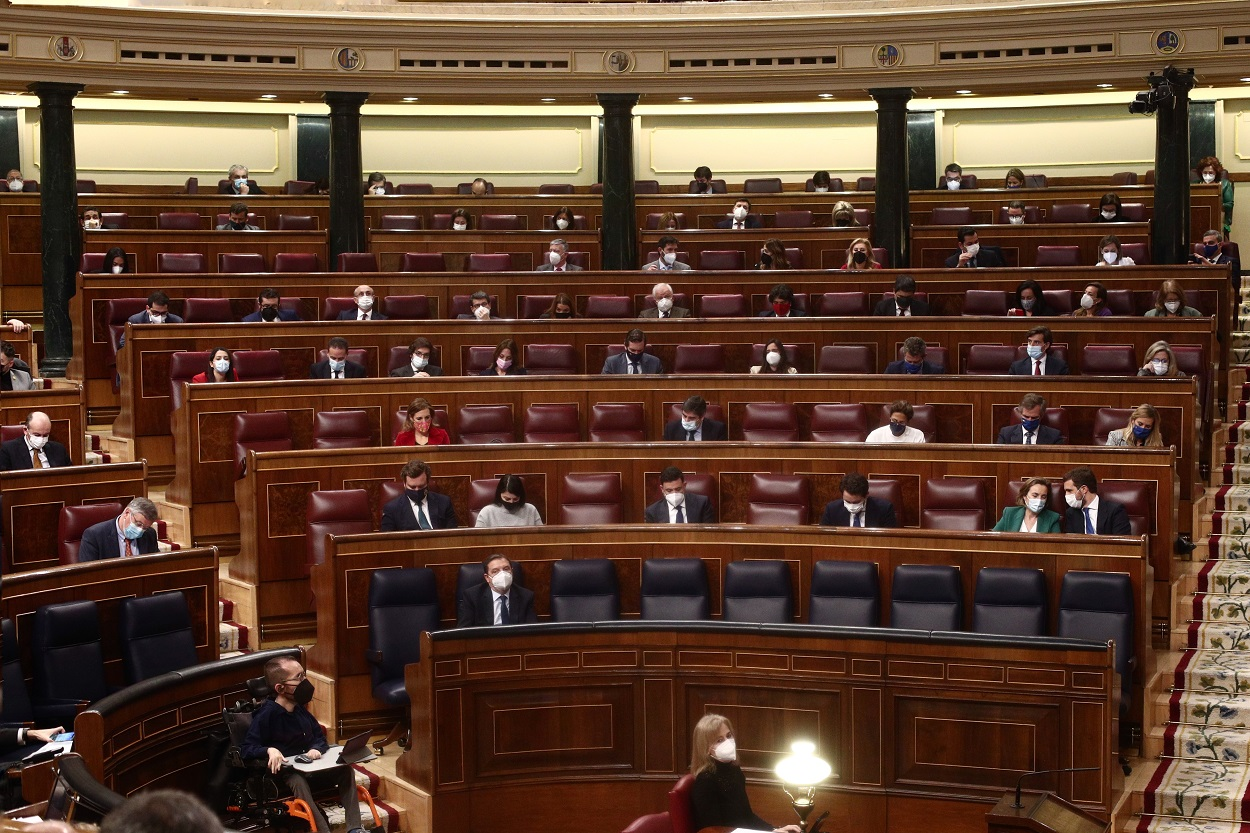 Vista de la bancada del PP en el hemiciclo del Congreso de los Diputados, durante una sesión de Control al Gobierno. E.P./E. Parra/POOL