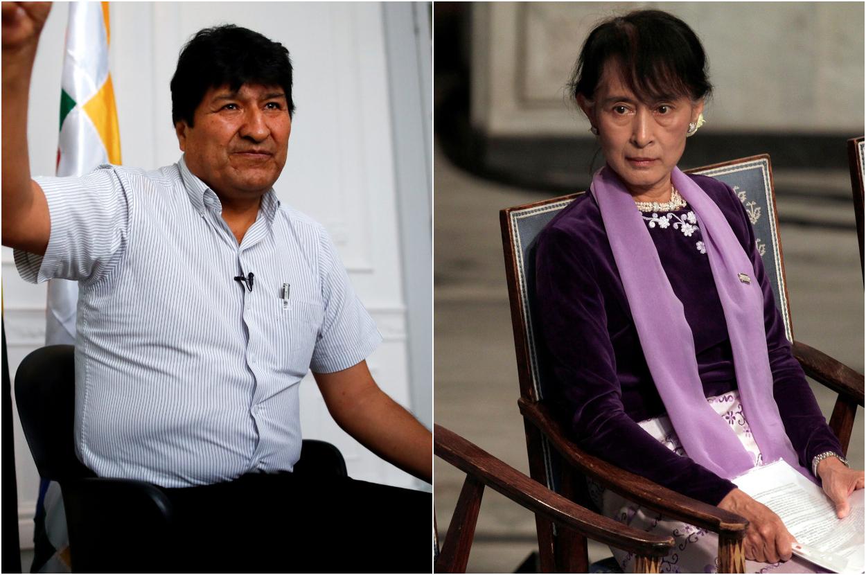 (Izq. y der) El expresidente de Bolivia, Evo Morales, durante una entrevista en Buenos Aires en marzo de 2020; y la premio Nobel Aung San Suu Kyi, en una imagen de junio de 2012, antes de dar su conferencia en el Ayuntamiento de Oslo, cuando recibió el galardón. REUTERS