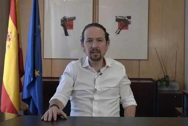 Captura de vídeo publicado hoy lunes en Twitter, del vicepresidente segundo del Gobierno español y líder del partido de izquierda Podemos, Pablo Iglesias, que anunció este lunes que deja el Gobierno para presentarse a las elecciones regionales de la Comunidad de Madrid del próximo 4 de mayo. EFE/ Twitter