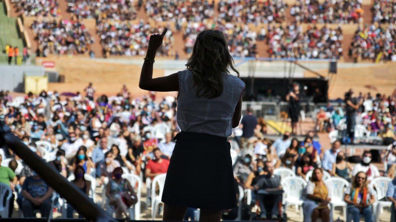 Yolanda Díaz, durante su intervención en la fiesta del PCE. TWITTER