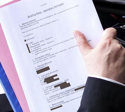 Ampliación de los documentos con los que Quick salió de White Hall.