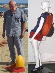 El inventor y un maniquí llevando la mochila a la espalda.