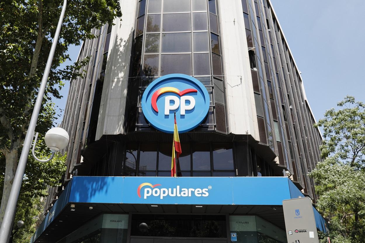 Edificio de la sede del PP, situado en la calle Génova, en Madrid. E.P./Jesús Hellín