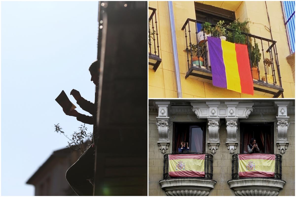 Banderas, aplausos y lecturas en los balcones de Madrid durante la cuarentena por coronavirus. / REUTERS