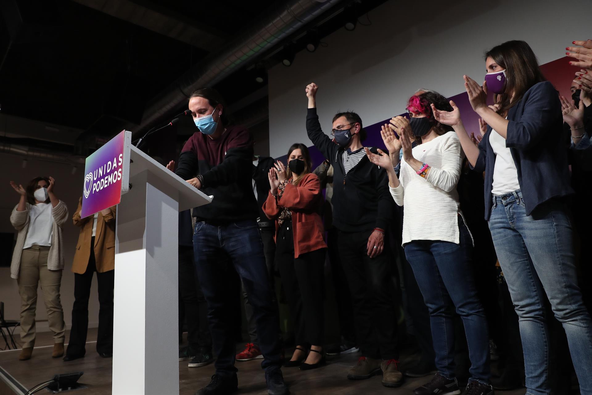 El líder de Unidas Podemos y candidato a la presidencia de la Comunidad de Madrid, Pablo Iglesias, comparece ante los medios tras conocer el resultados de los comicios madrileños.- EFE