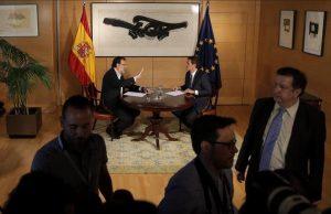 MADRID 10 08 2016 POLITICA Mariano Rajoy PP y Albert Rivera Ciudadanos durante la reunion que han mantenido hoy en el Congreso de los Diputados FOTO JOSE LUIS ROCA