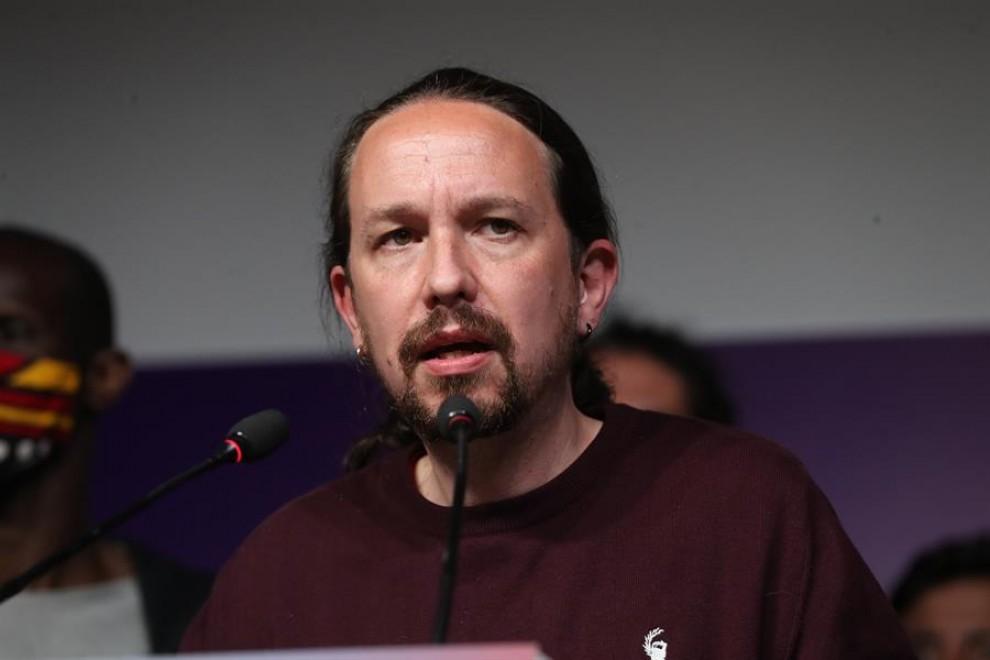 El líder de Podemos, Pablo Iglesias, tras las elecciones en Madrid en la sede de su partido.—Kiko Huesca/EFE