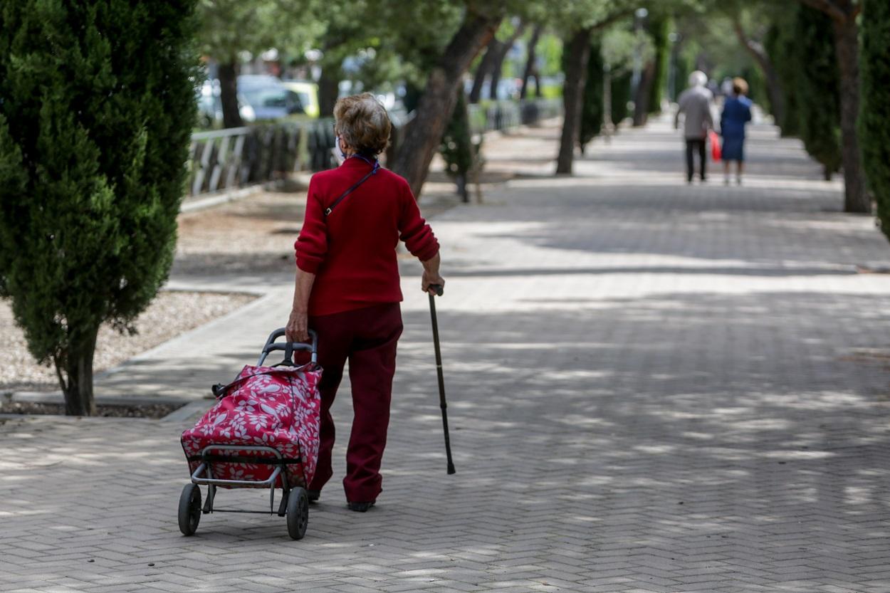 Una mujer en la calle con mascarilla, un bastón y un carrito de la compra, en Madrid. E.P./Ricardo Rubio