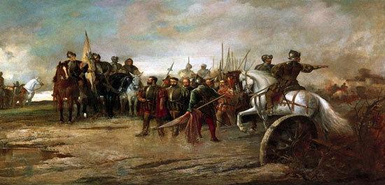 Representación de la Batalla de Villalar realizada en el siglo XIX por Manuel Picolo López.