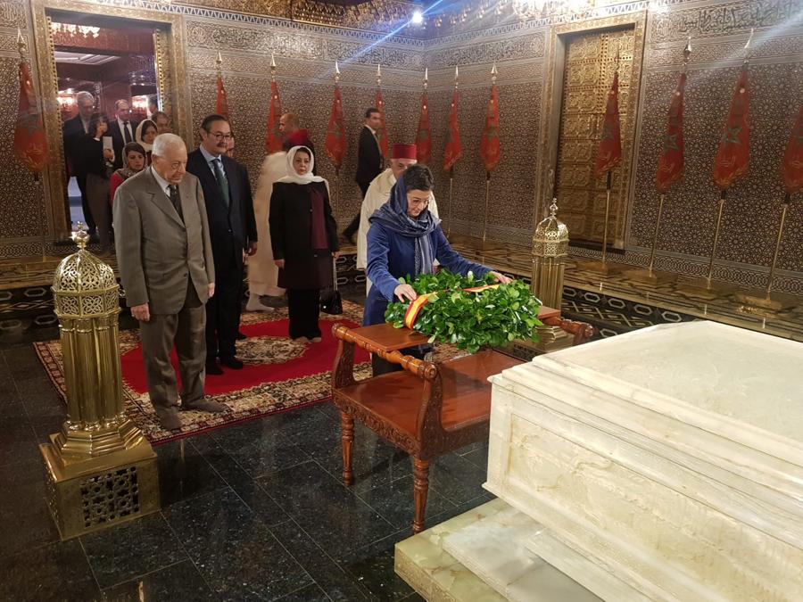 La ministra de Asuntos Exteriores, Arancha González Laya, visita el Mausoleo de Mohamed V, en Rabat, en su reciente visita a Marruecos. E.P.