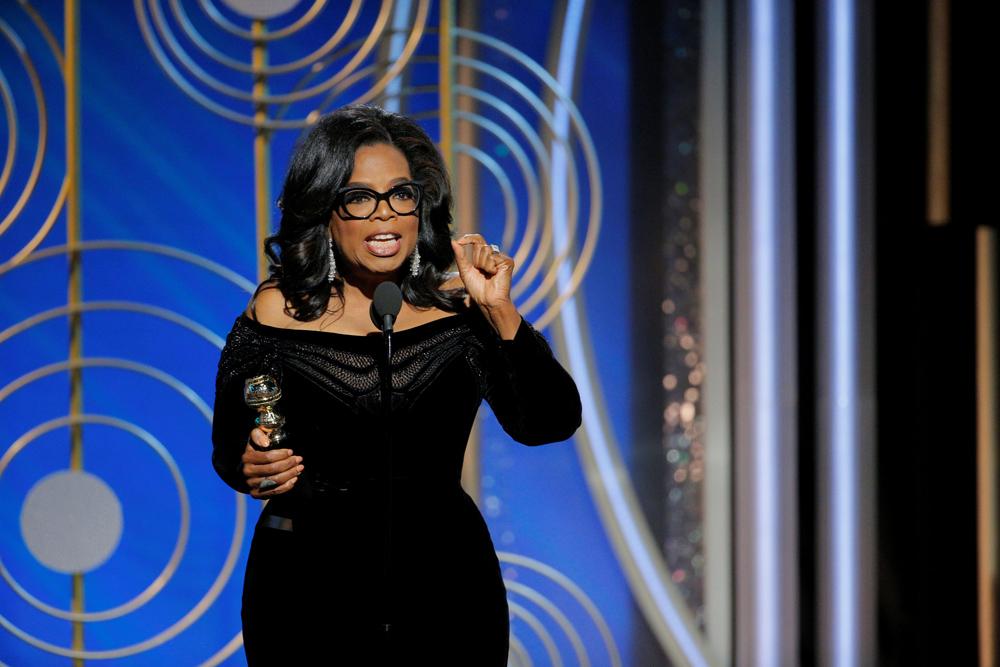 Oprah Winfrey durante su discurso de aceptación del premio Cecil B. Demille en la gala de los Globos de Oro de Hollywood. REUTERS/ Paul Drinkwater/Courtesy of NBC