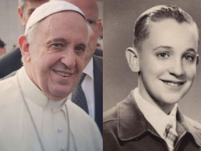 El papa Francisco en la actualidad y de niño.