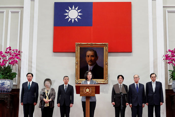 La presidenta de Taiwan, Tsai Ing-wen, en una comparecencia ante los medios tras la ruptura de relaciones diplomáticas de El Salvador. REUTERS/Stringer