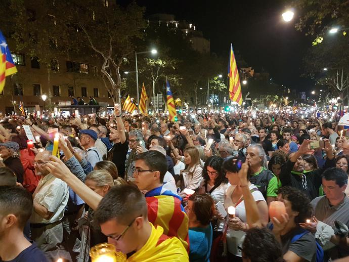 Protesta contra la detención de los Jordis; Barcelona 17/10/17