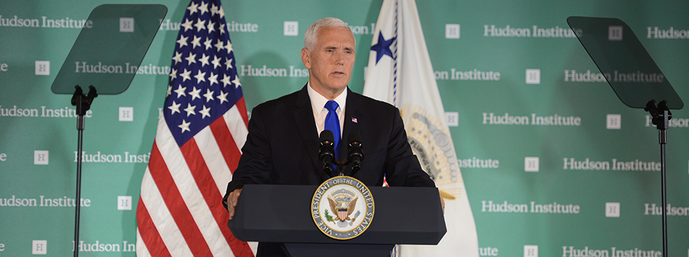 El vicepresidente de EEUU, Mike Pence, durante su intervención en Instituto Hudson .