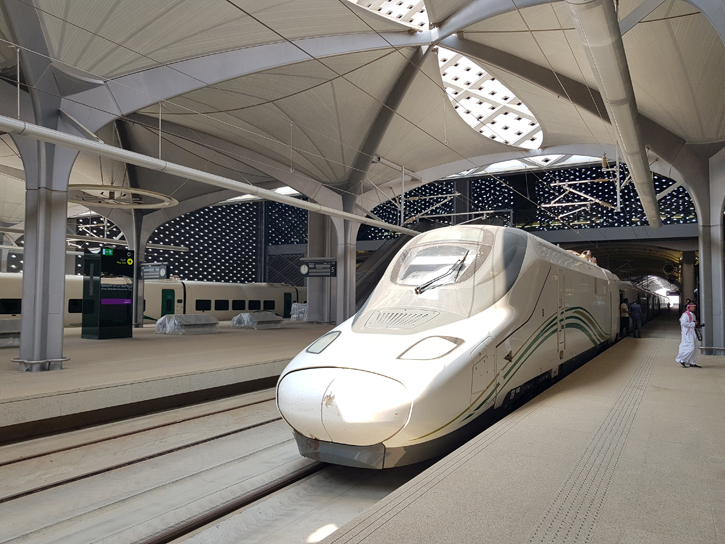 El tren AVE en la nueva estación del tren de alta velocidad La Meca-Medina, en Yeda (Arabia Saudí). REUTERS/Stephen Kalin
