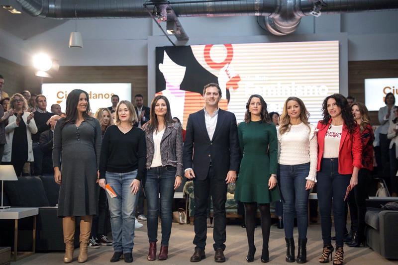 Foto del acto de presentación del decálogo de Feminismo Liberal de Ciudadanos, con Albert Rivera, Inés Arrimadas y Begoña Villacís. EFE/Pedro Ruiz