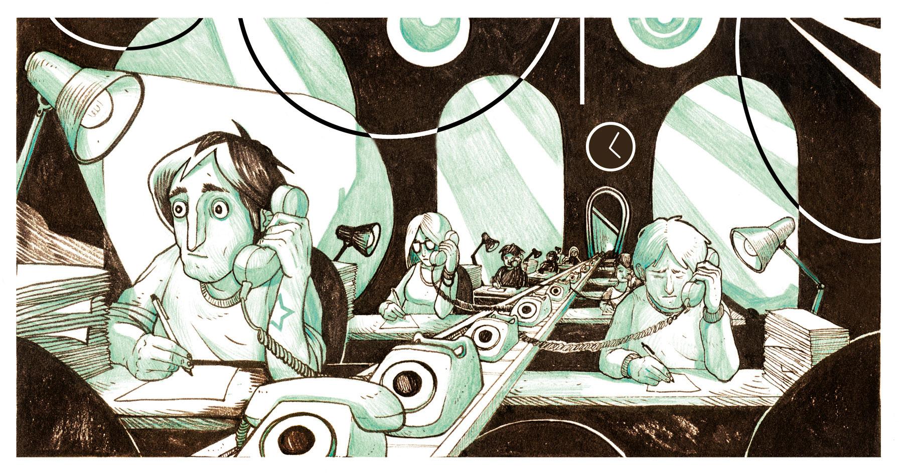 La Gran Corporación. Ilustración: Aleix Gordo Hostau / www.aleixgoho.com