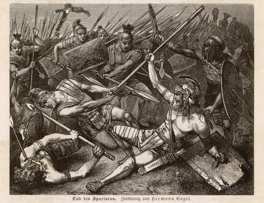 'La muerte de Espartaco', esclavo y gladiador, de Hermann Vogel. Wikimedia Commons