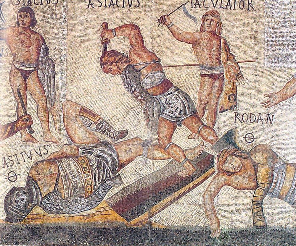 Mosaico de Villa Borghese en el que un gladiador ataca con una daga a su oponente. Wikimedia Commons