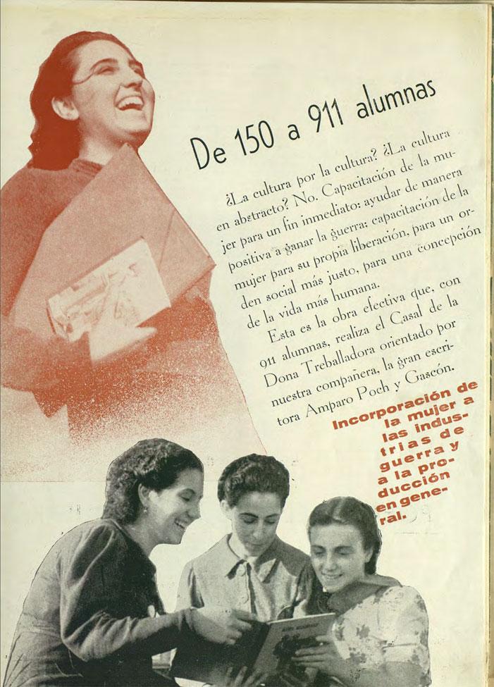 Página dedicada a la labor de Amparo Poch en el Casal de la Dona Treballadora durante la Guerra Civil, publicada en la revista Mujeres Libres, nº 12, pág. 17. 1938. CGT.ORG