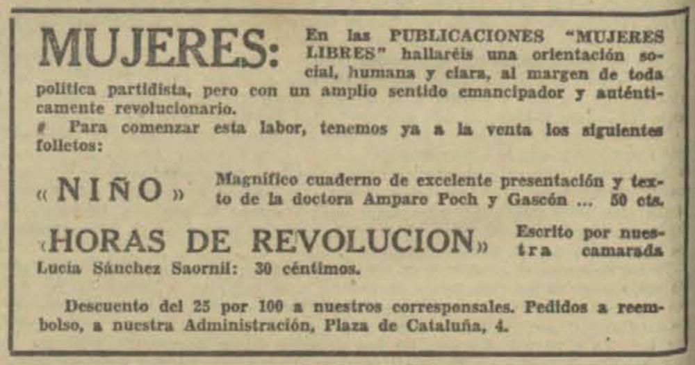 Recorte de 'Solidaridad Obrera' del 26 de junio de 1937 anunciando las publicaciones de Mujeres Libres. BNE - Hemeroteca Digital