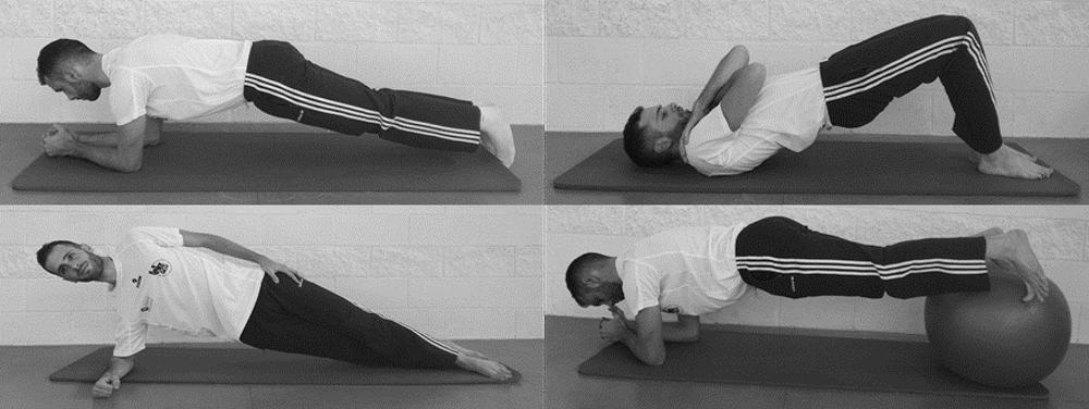 Figura 1. Ejemplos de ejercicios isométricos o planchas para musculatura flexora, extensora e inclinadora del tronco. Laboratorio de Biomecánica y Salud, Author provided