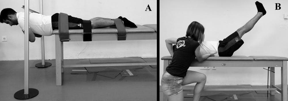 Figura 2. Test de resistencia de extensores de tronco o Biering-Sorensen test (A) y test de control lumbo-pélvico o double leg lowering test (B). Laboratorio de Biomecánica y Salud, Author provided