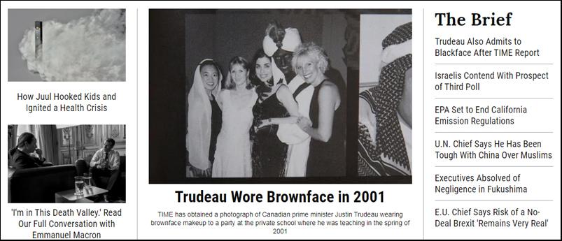 Información de 'Time' sobre la fiesta de 2001 en la que Justin Trudeau, ahora primer ministro de Canadá, participó con la cara pintada de negro y vestido de árabe.