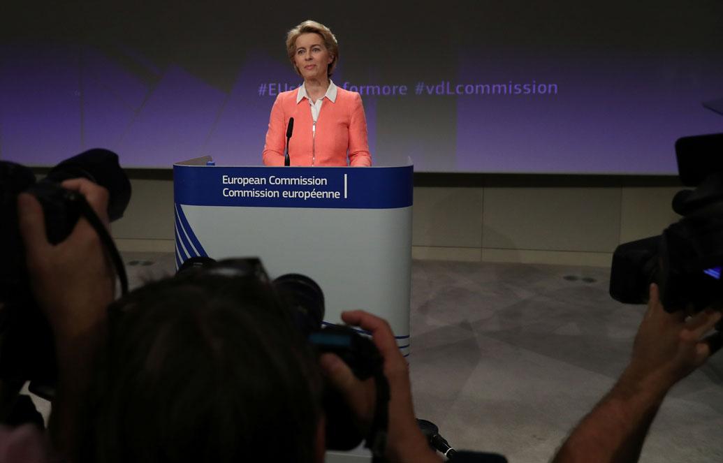 La presidenta electa de la Comisión Europea, la alemana Ursula von der Leyen, en la presentación de los miembros del nuevo Ejecutivo comunitario, en Bruselas. REUTERS/Yves Herman