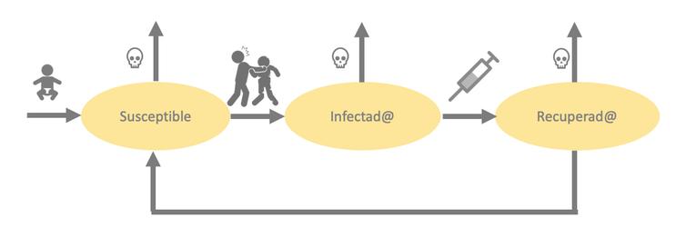 Representación de un modelo SIR para la epidemia zombie.