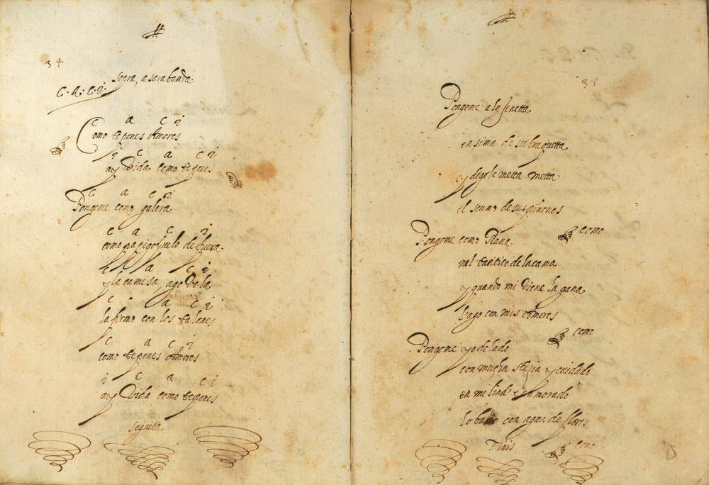Letra de la zarabanda '¿Cómo te pones, amores?' con indicaciones armónicas. Verona, Biblioteca Civica, Ms. 1434, Classe Arti, Ubicazione 82.3