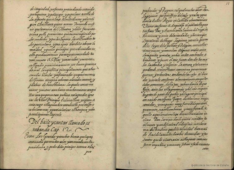 Juan de Mariana. 'Del baile y cantar llamado zarabanda', Tratado contra los juegos públicos (ca. 1590) Biblioteca Nacional de España, Mss. 5735