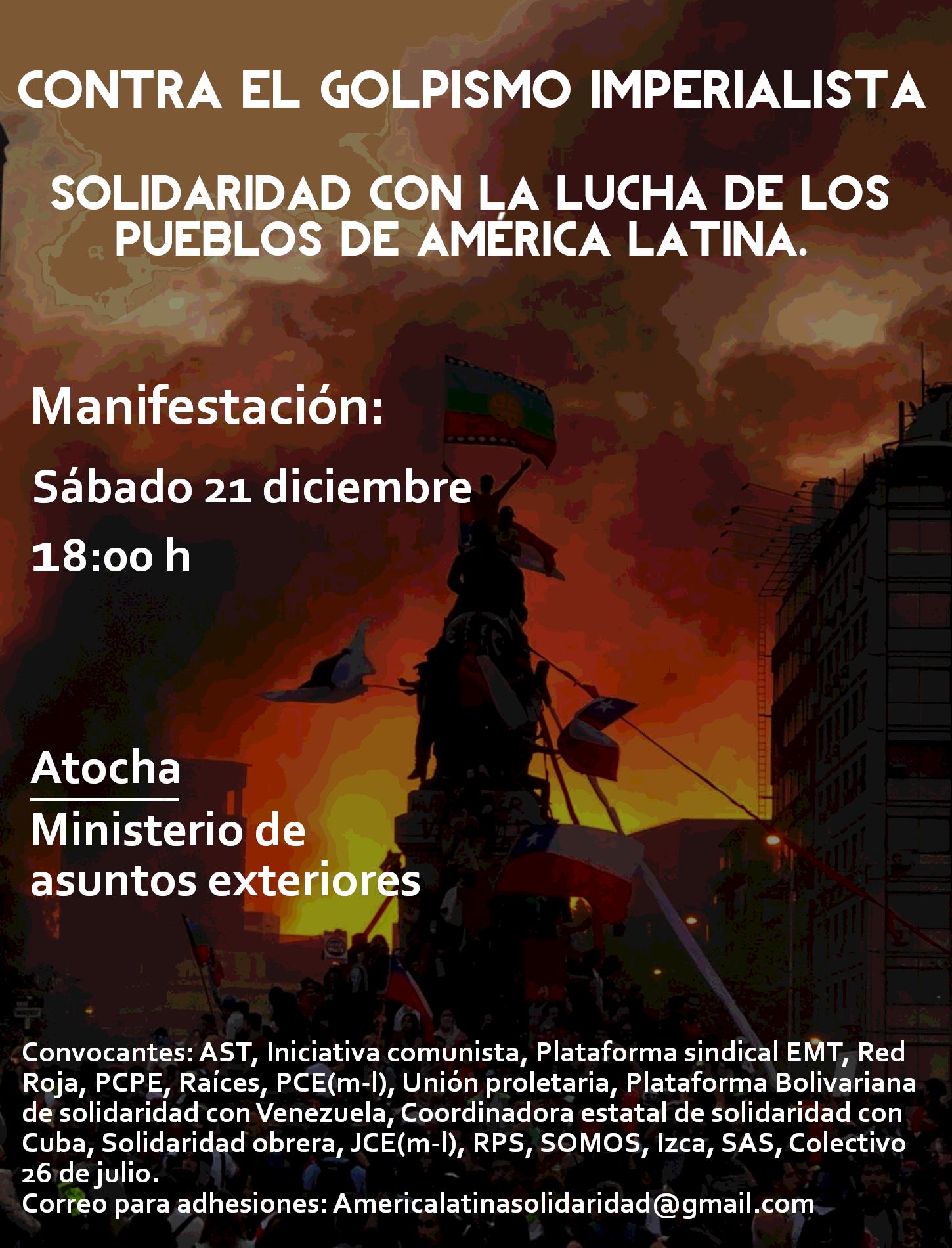 Cartel de la manifestación 'Contra el golpismo imperialista'.
