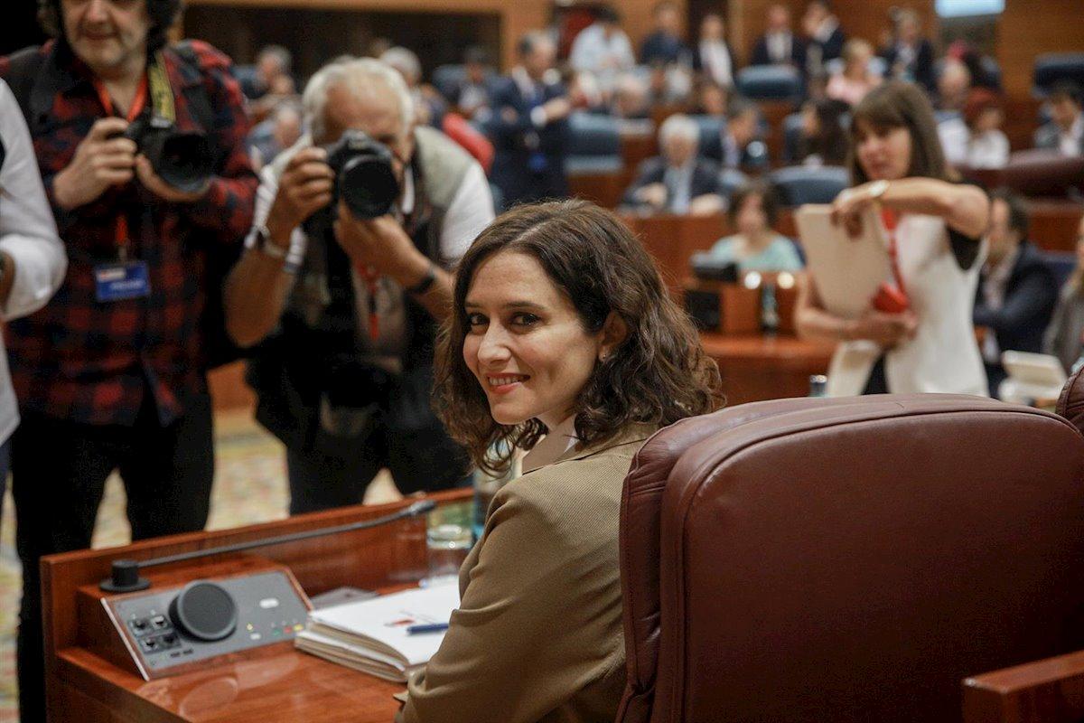 La presidenta de la Comunidad de Madrid, Isabel Díaz Ayuso, durante una sesión plenaria en la Asamblea de Madrid. E.P./Ricardo Rubio