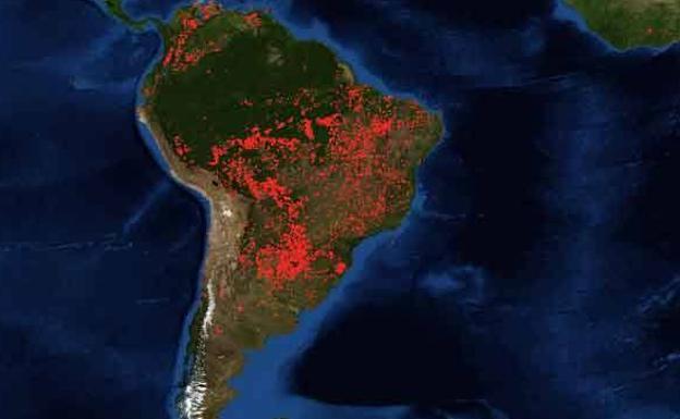 Incendios en la Amazonia según imágenes de la NASA