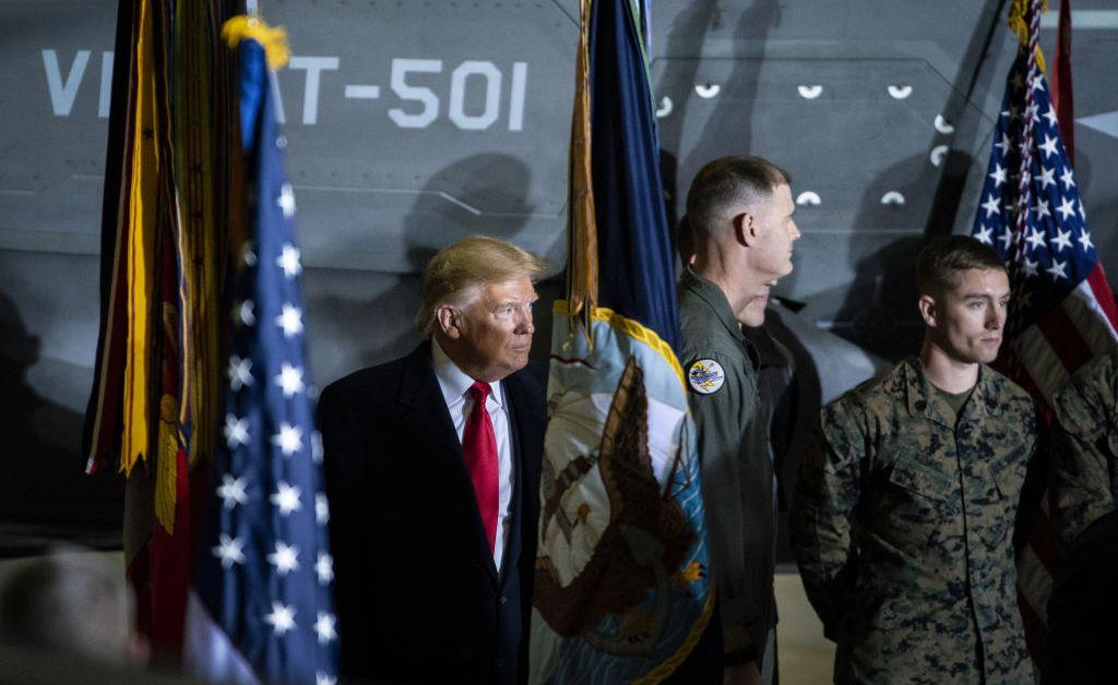 El presidente de EEUU, Donald Trump, en un acto en la Base Militar de Andrews, en Maryland.
