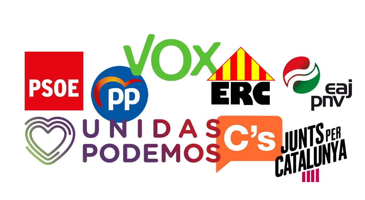 Logos de los principales partidos con representación parlamentaria.