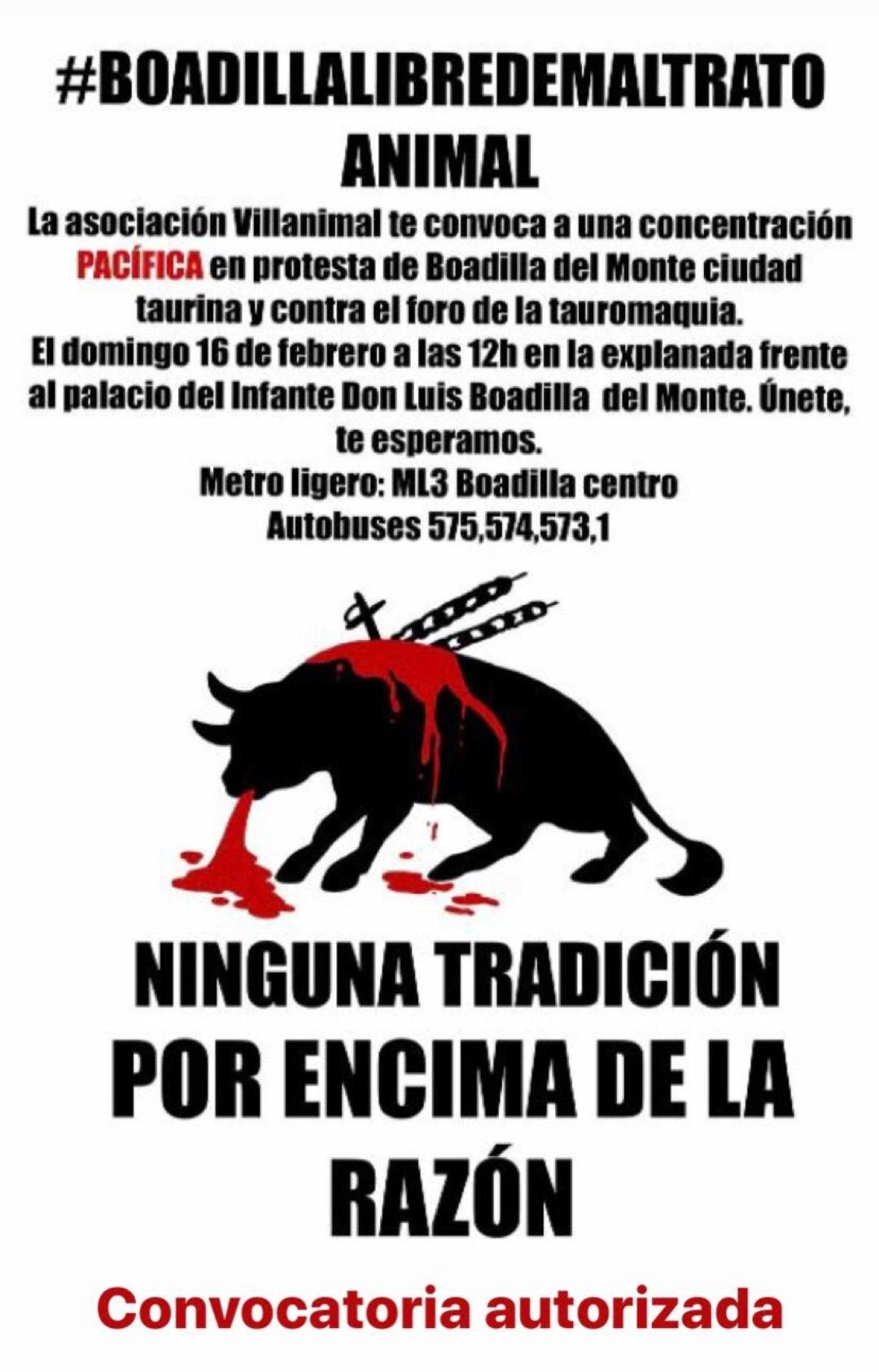 Cartel de la concentración en Boadilla de Monte contra el maltrato animal.