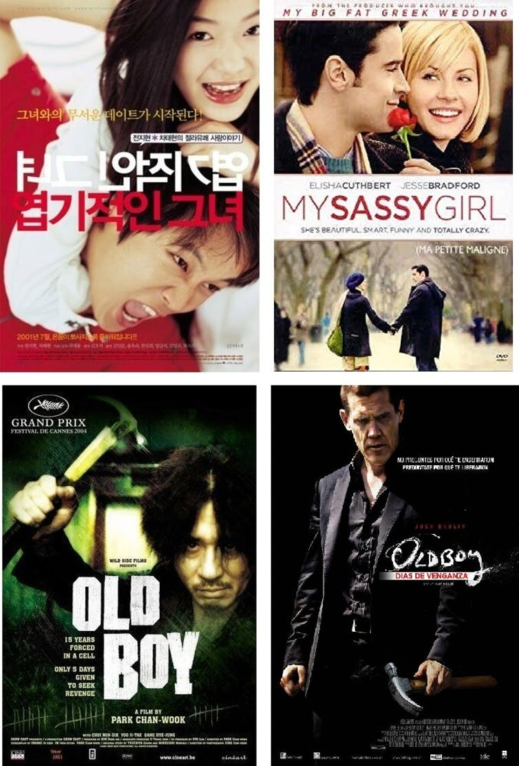 Remakes estadounidenses de éxitos surcoreanos. My Sassy Girl, de Kwak Jae-young; y su remake, My Sassy Girl, de Yann Samuell. Oldboy, de Park Chan-wook; y su remake, Old Boy, de Spike Lee. ShinCine Communications - IM Pictures / Show East / Good Universe - Vertigo Entertainment 40 Acres & A Mule Filmworks - OB Productions / CJ Entertainment Gold - Circle Films - Madacy Entertainment - Maverick Films - Sassy Girl Productions