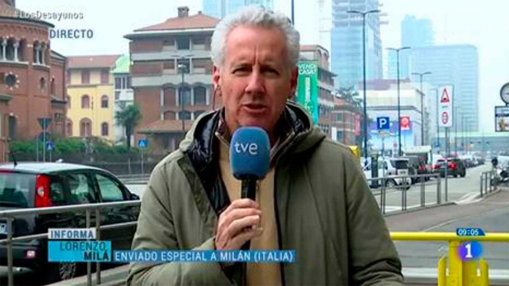 Imagen de una crónica en directo desde Roma del periodista de TVE Lorenzo Milá.