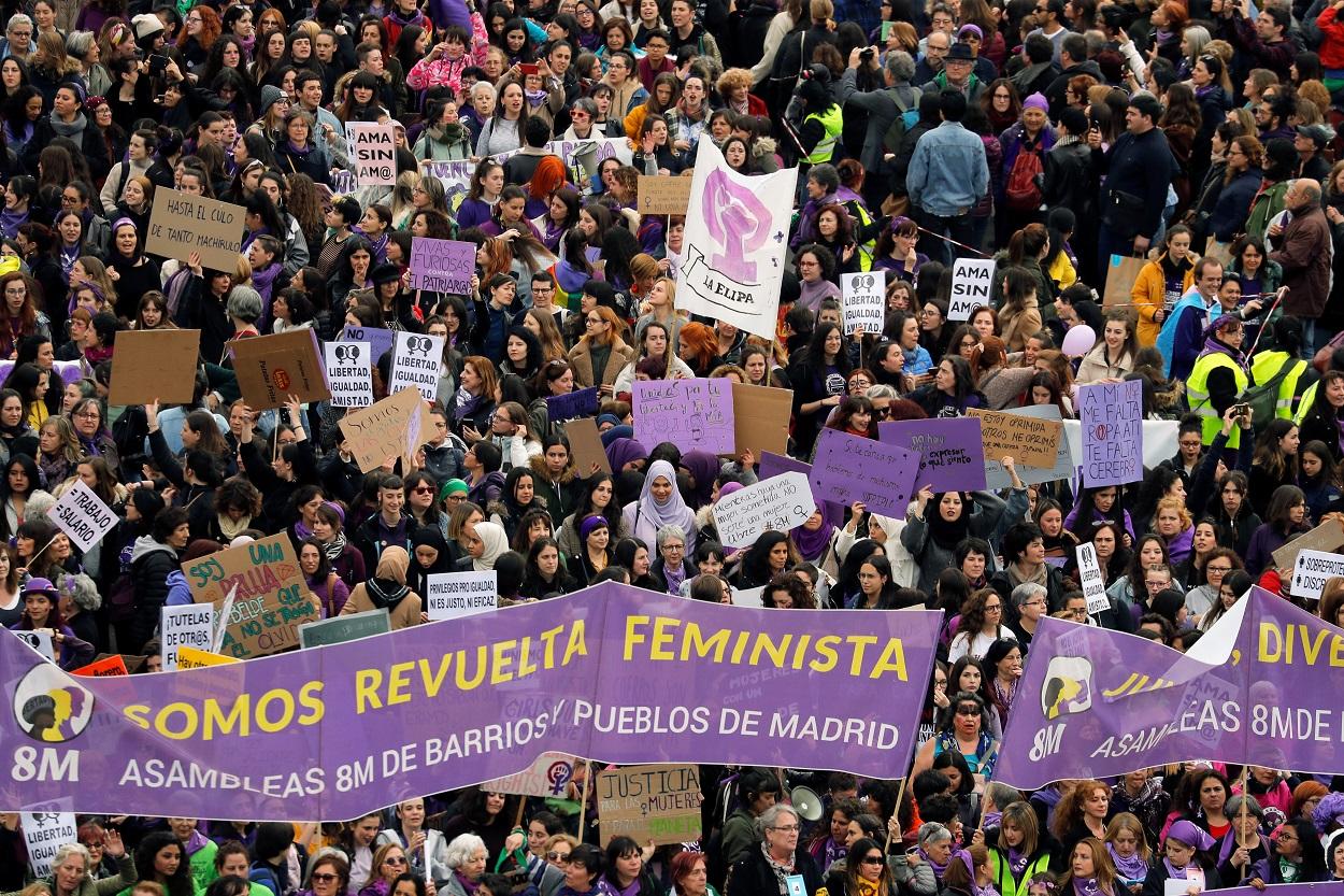 Imagen de la manifestación del 8M en Madrid. REUTERS