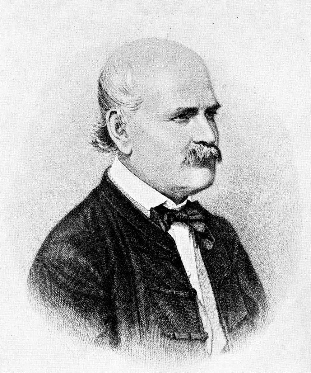El médico húngaro Ignaz Semmelweis demostró que con el lavado de manos disminuía la mortalidad por fiebre puerperal. Wikimedia Commons