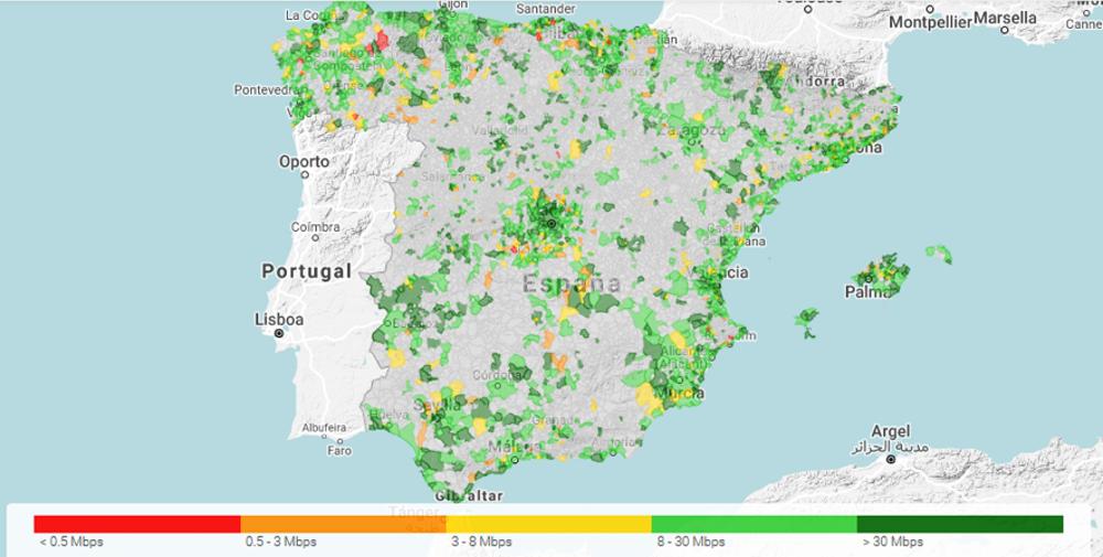 Figura 1. Cobertura 4G en España medida con la herramienta CoberApp (generado el 23 de marzo de 2020) Elaboración propia/Datos de la OCU, Author provided
