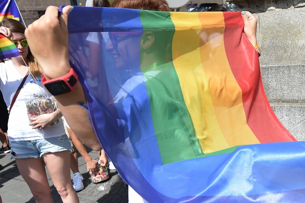 Un joven, con la bandera arcoiris. AFP