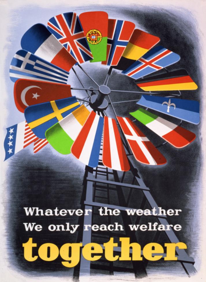 Cartel promocional del Plan Marshallcon de 1950 el texto Cualquiera que sea el clima sólo juntos alcanzamos la prosperidad. Wikimedia Commons / E. Spreckmeester