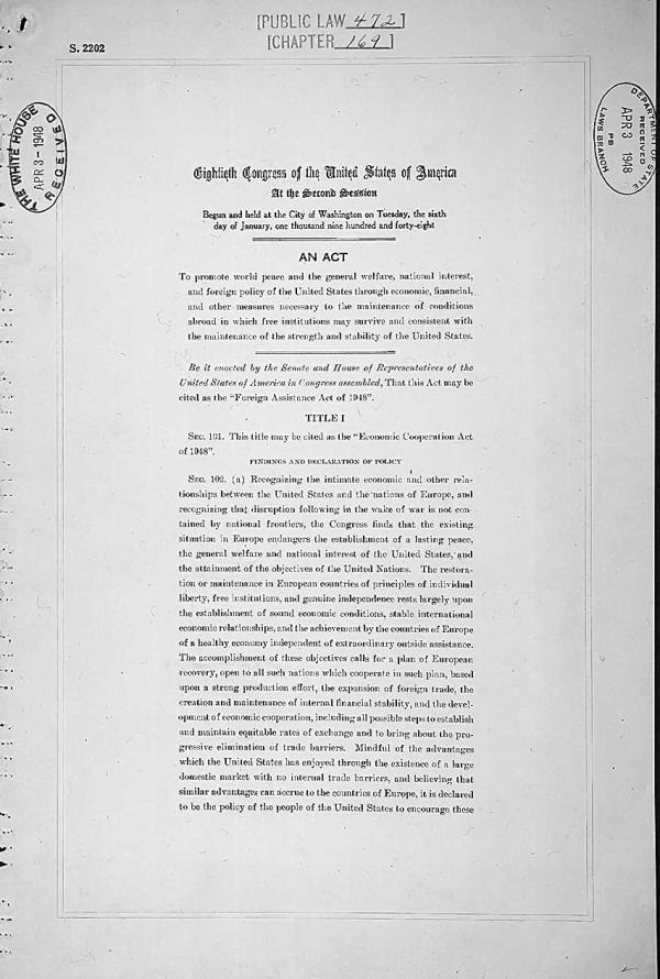 Primera página del Plan Marshall. Wikimedia Commons