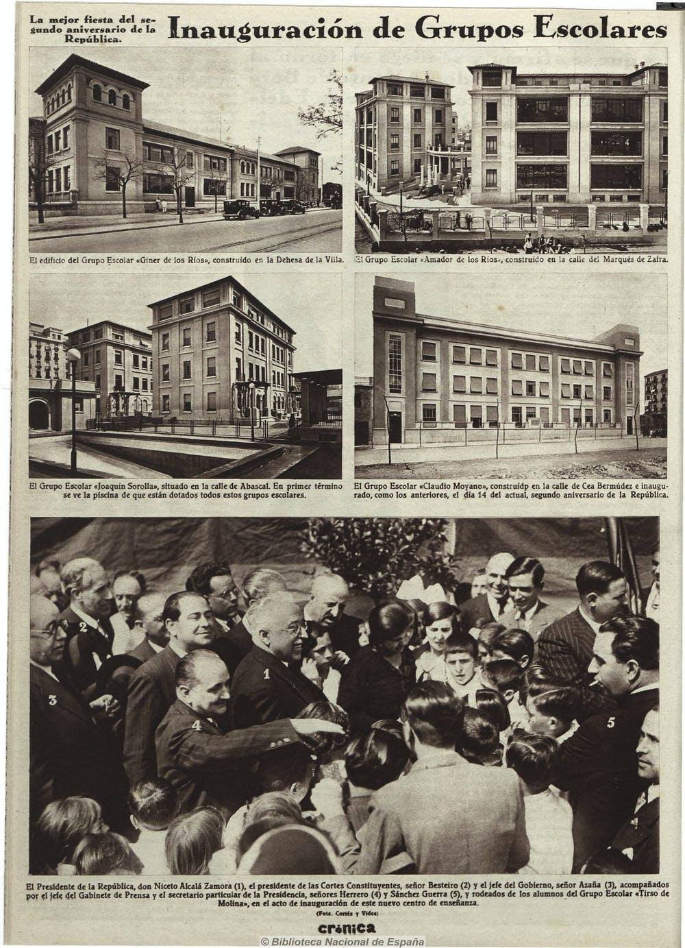 El 14 de abril de 1933, el presidente de la República, Niceto Alcalá Zamora, y el presidente del Gobierno, Manuel Azaña, presidieron la inauguración de seis centros escolares en Madrid. Crónica, 23 de abril de 1933. BNE - Hemeroteca Digital