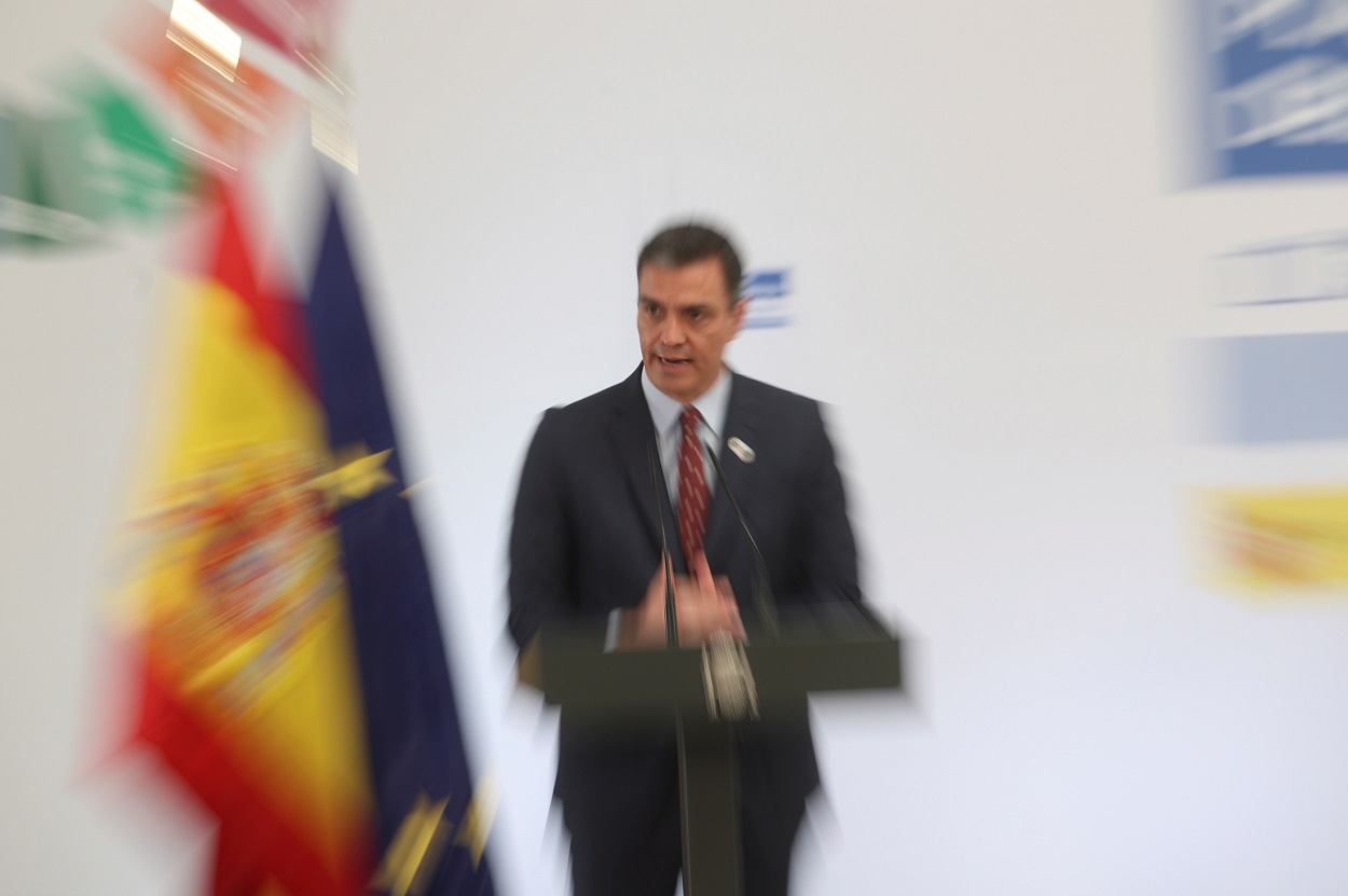 El presidente del Gobierno, Pedro Sánchez, durante la presentación del Plan de Impulso al Sector Turístico, en el Complejo de la Moncloa. EFE/Rodrigo Jiménez/POOL