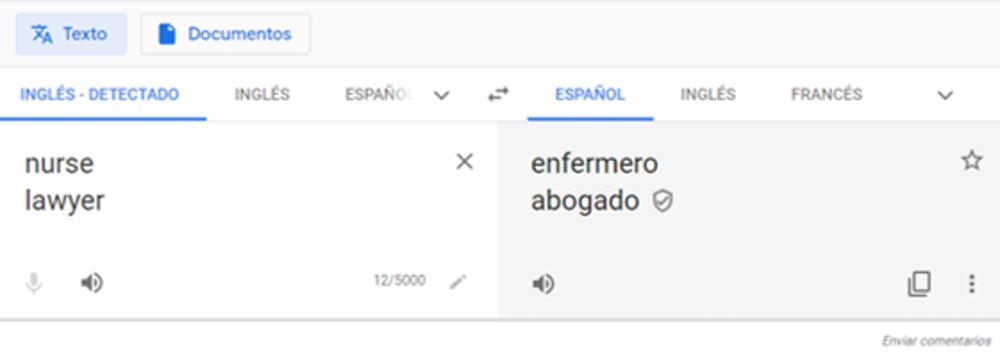 Figura 2. Captura de pantalla de Google Translate que muestra masculino genérico en la traducción de un listado de palabras (14-05-2020).